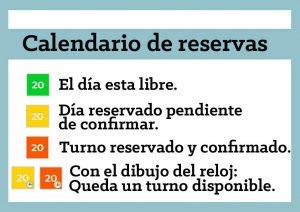 Leyenda del calendario de reservas